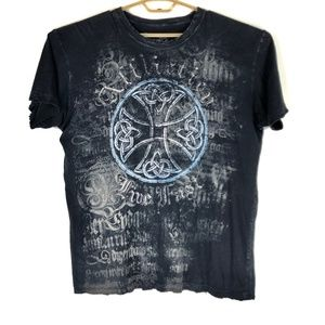 AFFLICTION Mens Live Fast Cross Graphic Tee XL